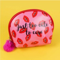 'Lips' Cosmetic Bag with Pom Pom Zipper