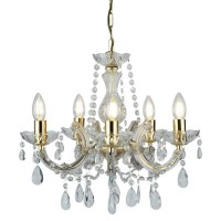 Searchlight Polished Brass Fitting 5 Light Crystal Decorative Chandelier 699-5